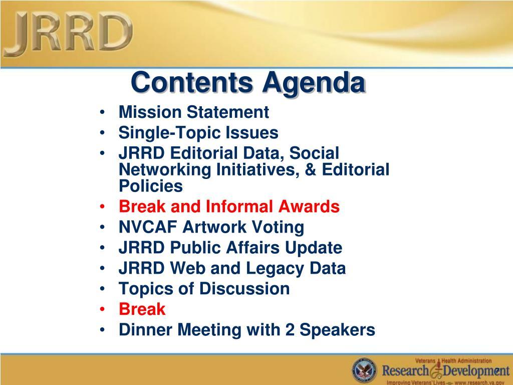 Contents Agenda
