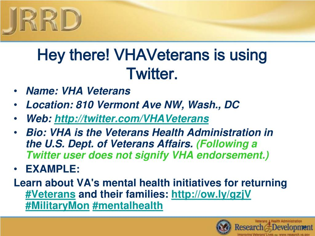 Hey there! VHAVeterans is using Twitter.