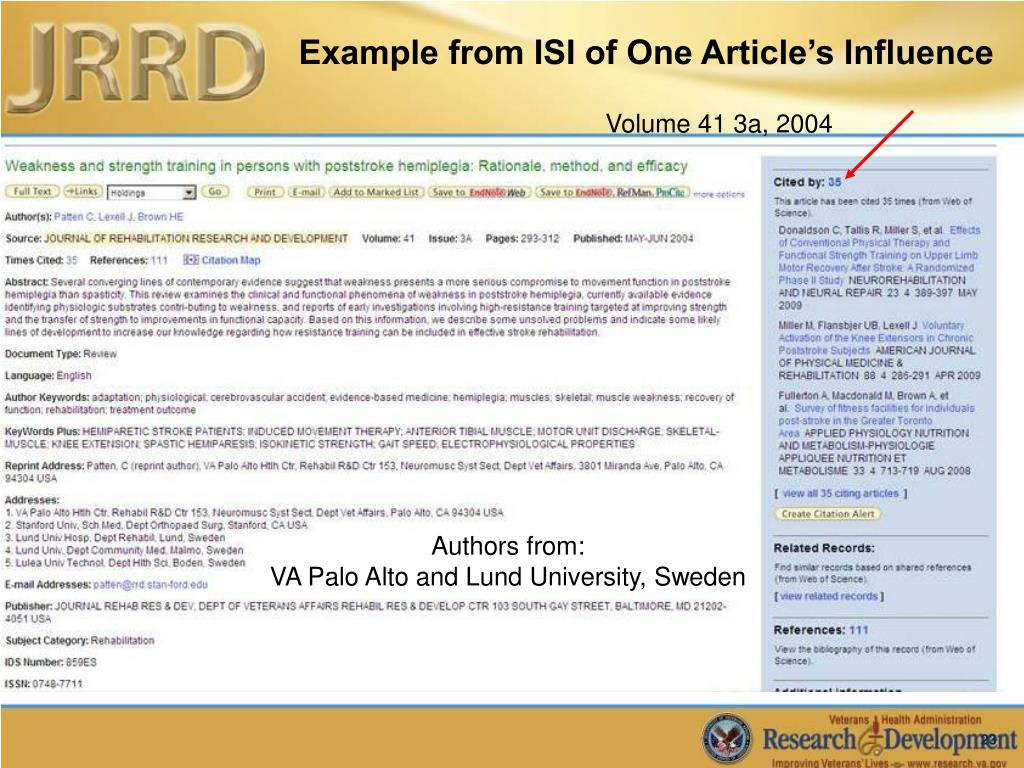 Example from ISI of One Article's Influence