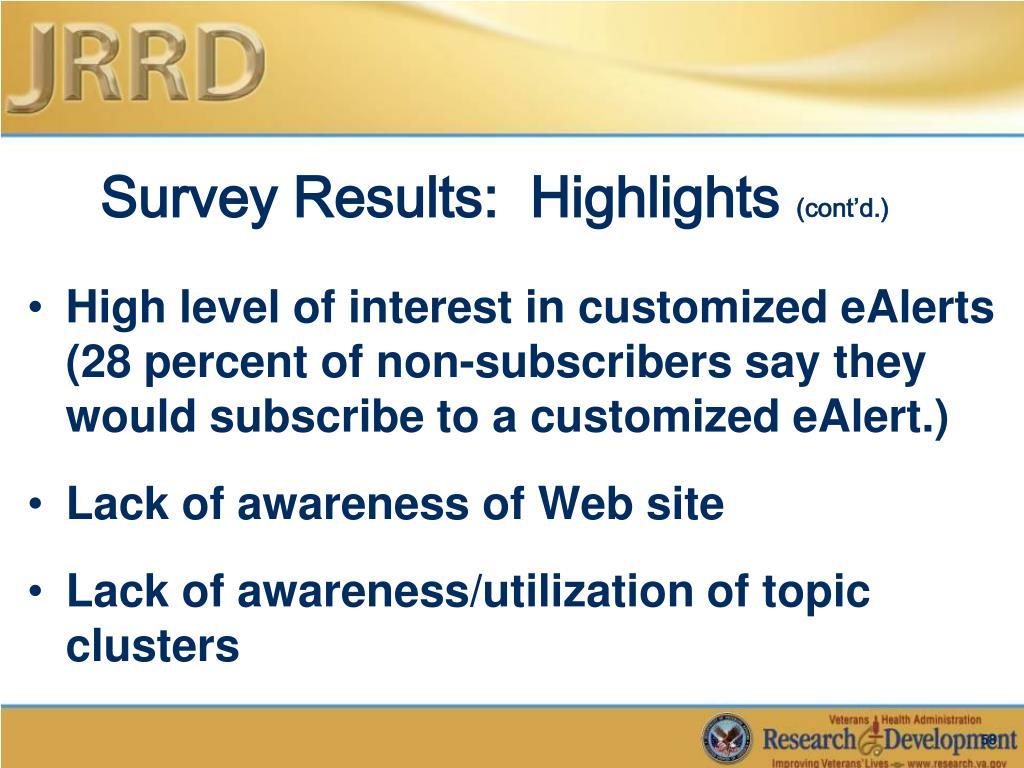 Survey Results:  Highlights