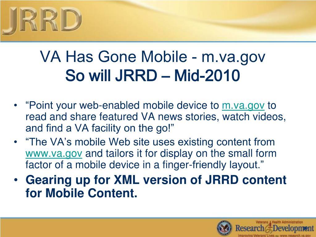 VA Has Gone Mobile - m.va.gov