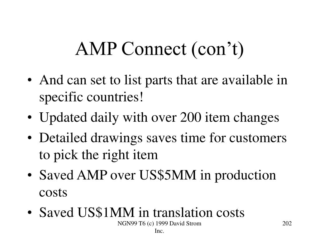 AMP Connect (con't)