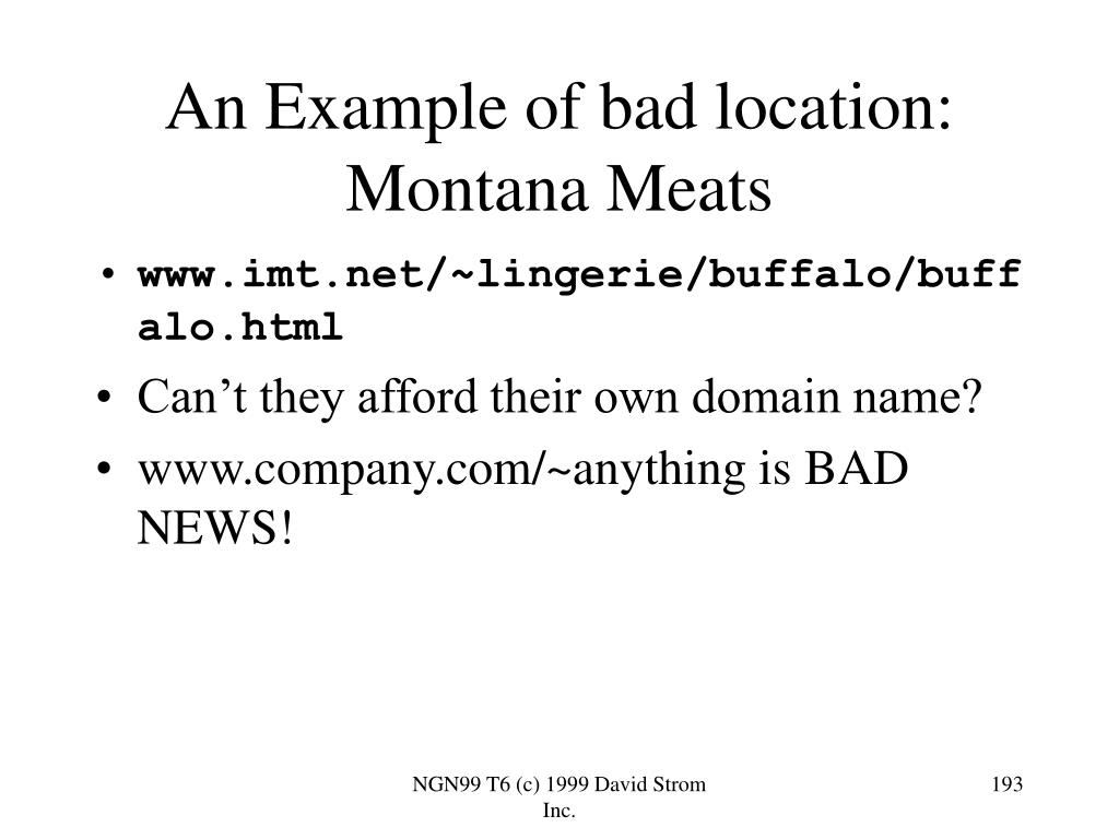 An Example of bad location: Montana Meats