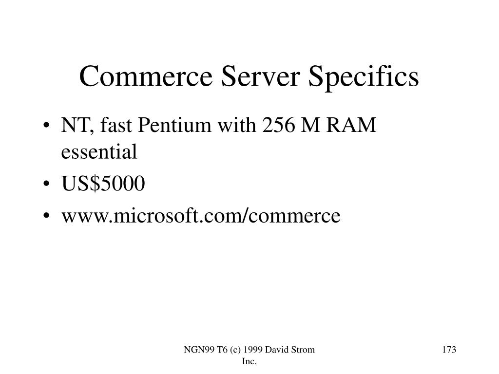 Commerce Server Specifics