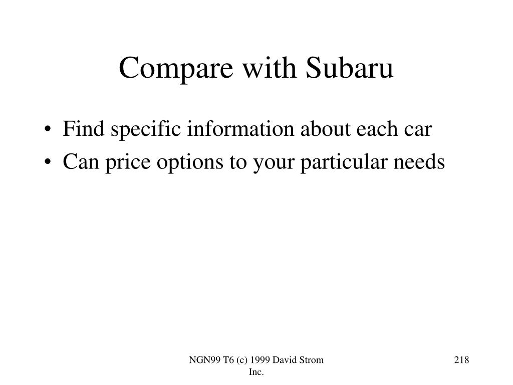 Compare with Subaru