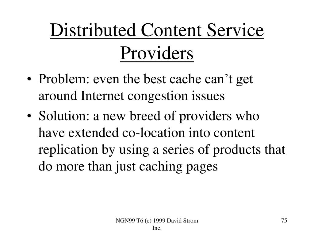 Distributed Content Service Providers