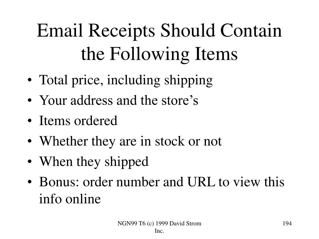 Email Receipts Should Contain the Following Items