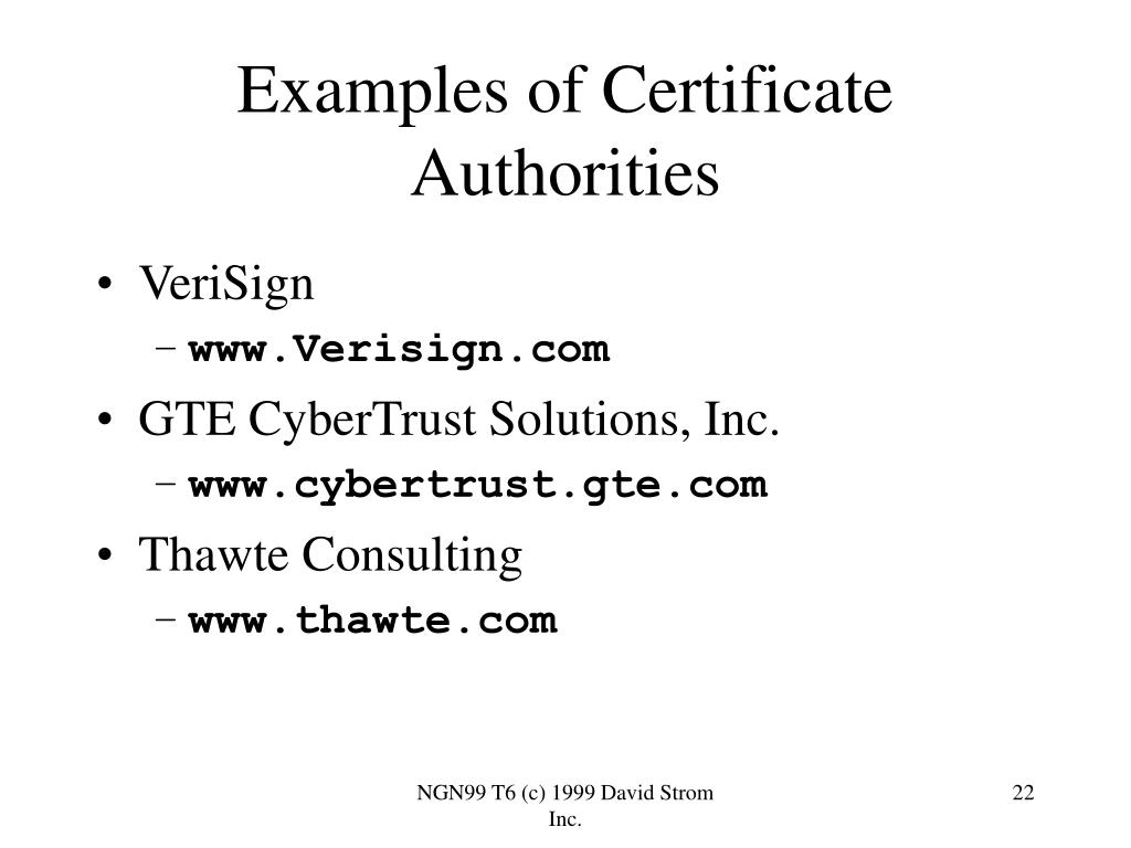 Examples of Certificate Authorities