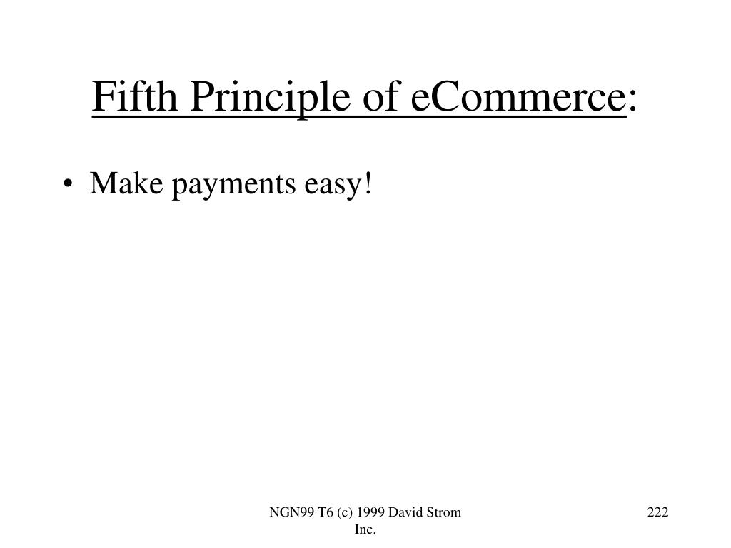 Fifth Principle of eCommerce