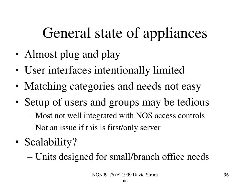 General state of appliances