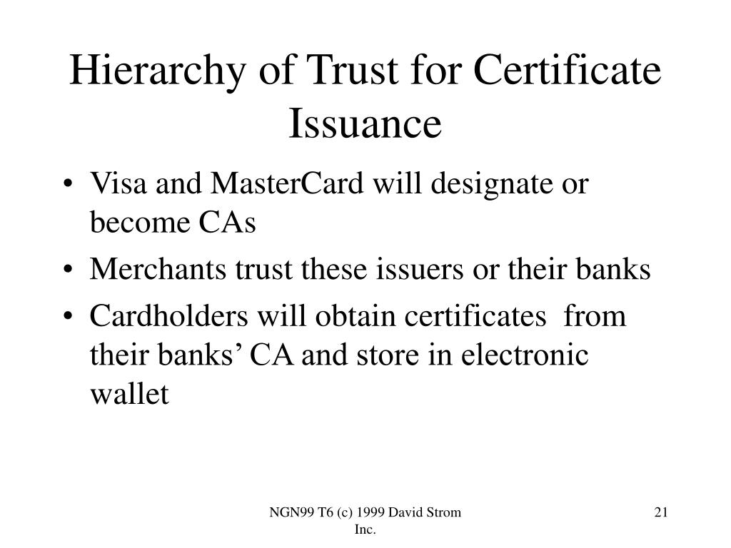 Hierarchy of Trust for Certificate Issuance