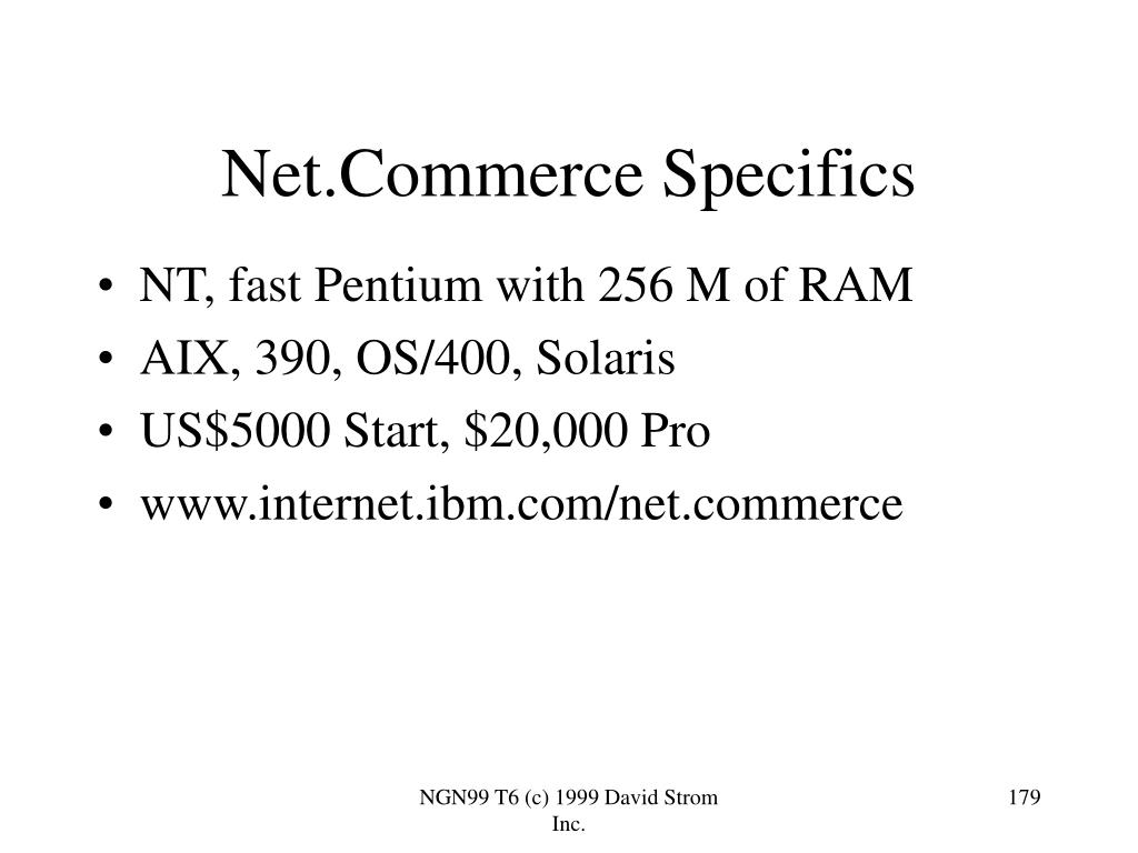 Net.Commerce Specifics