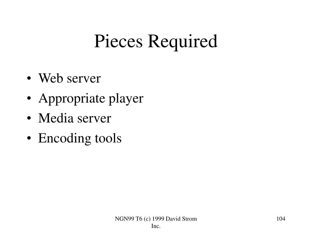 Pieces Required