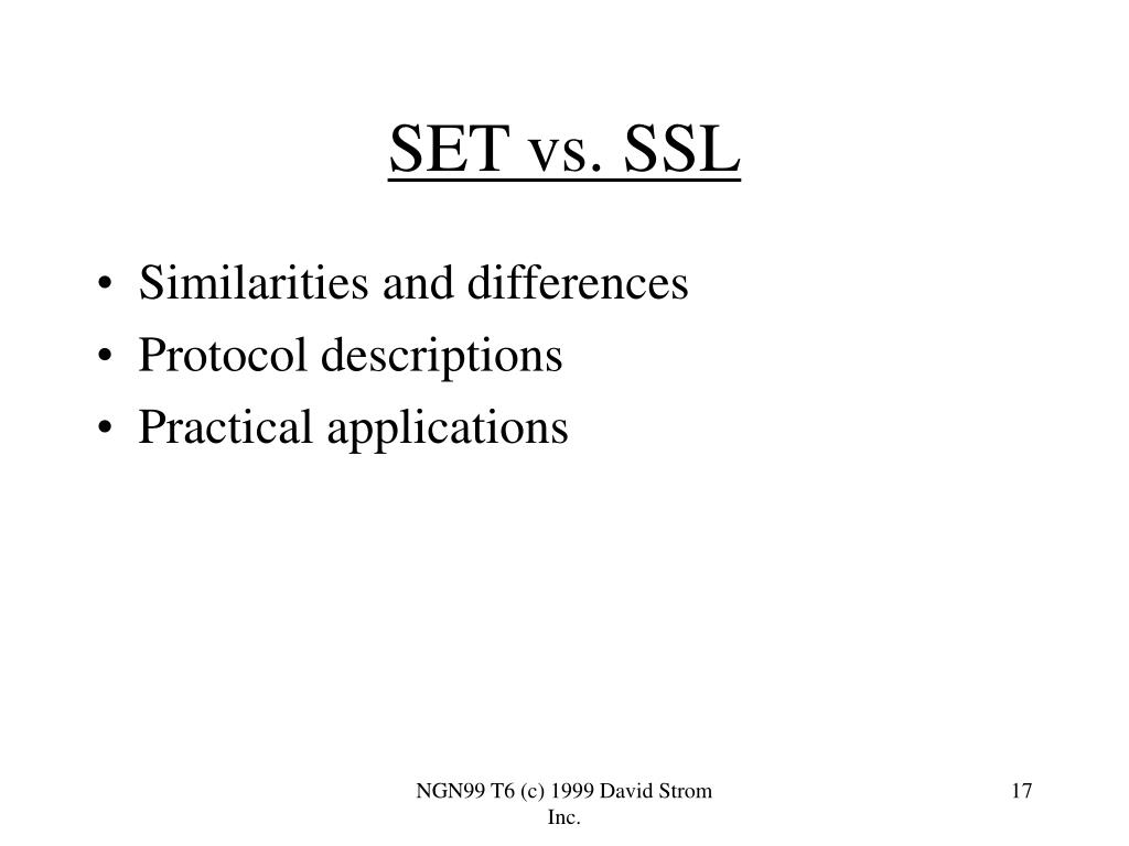 SET vs. SSL