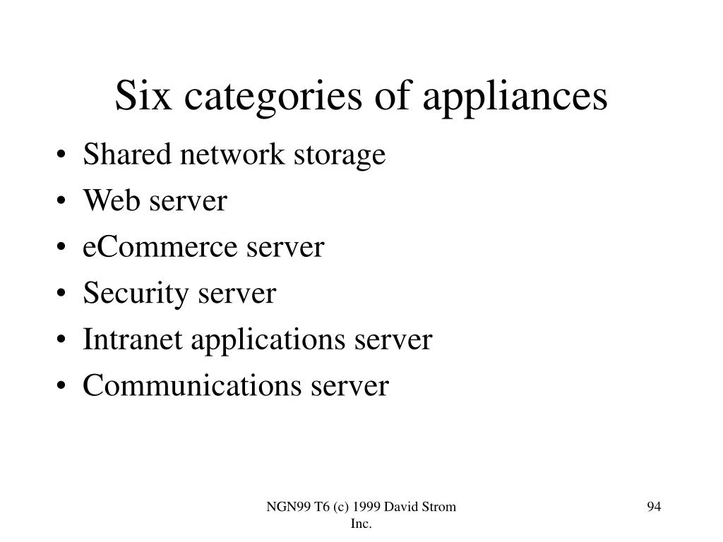 Six categories of appliances
