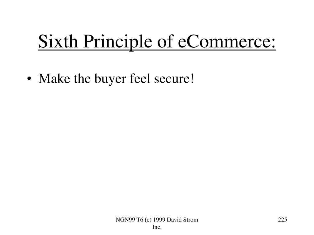 Sixth Principle of eCommerce: