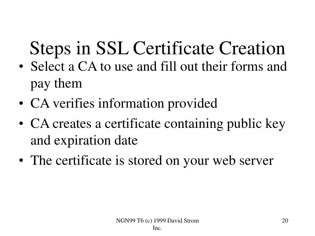 Steps in SSL Certificate Creation