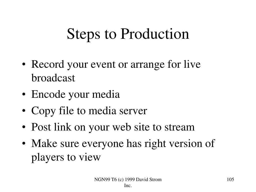 Steps to Production