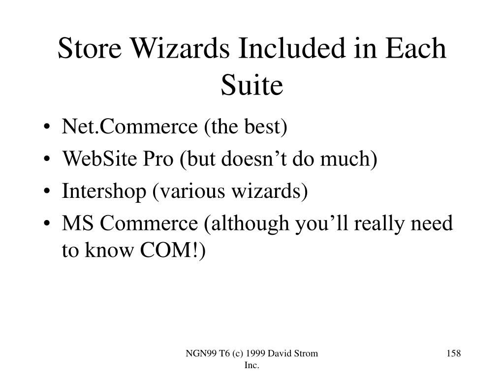 Store Wizards Included in Each Suite