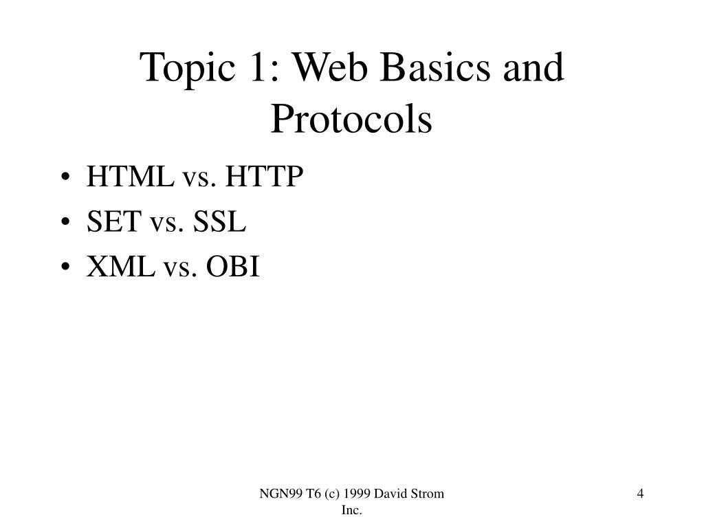 Topic 1: Web Basics and Protocols