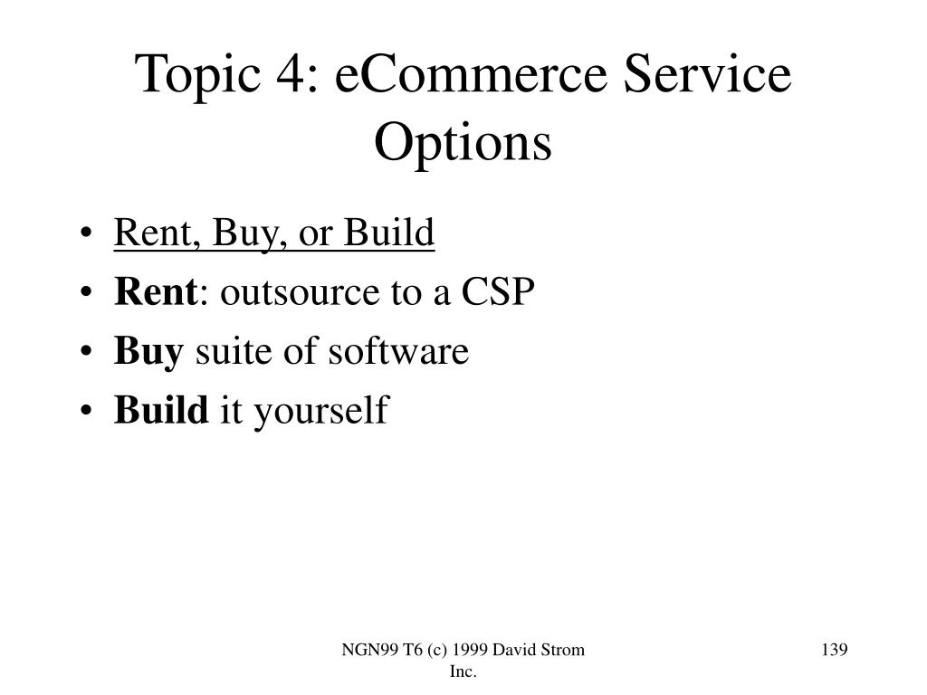 Topic 4: eCommerce Service Options