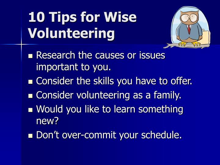 10 Tips for Wise Volunteering