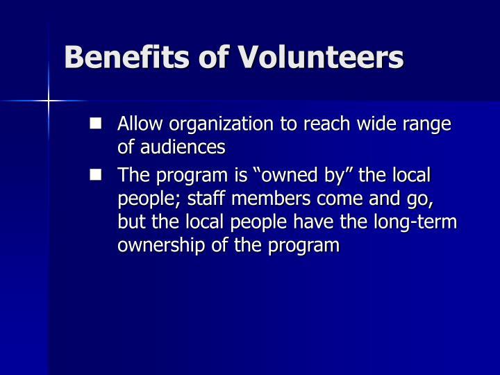 Benefits of Volunteers