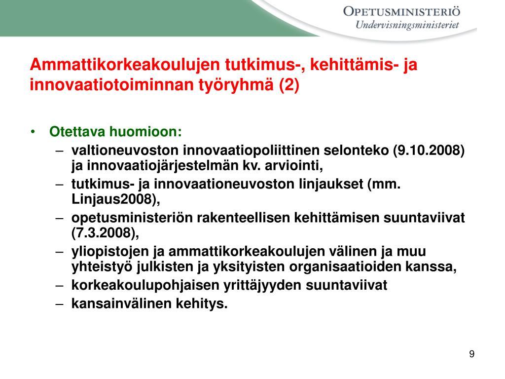 Ammattikorkeakoulujen tutkimus-, kehittämis- ja innovaatiotoiminnan työryhmä (2)