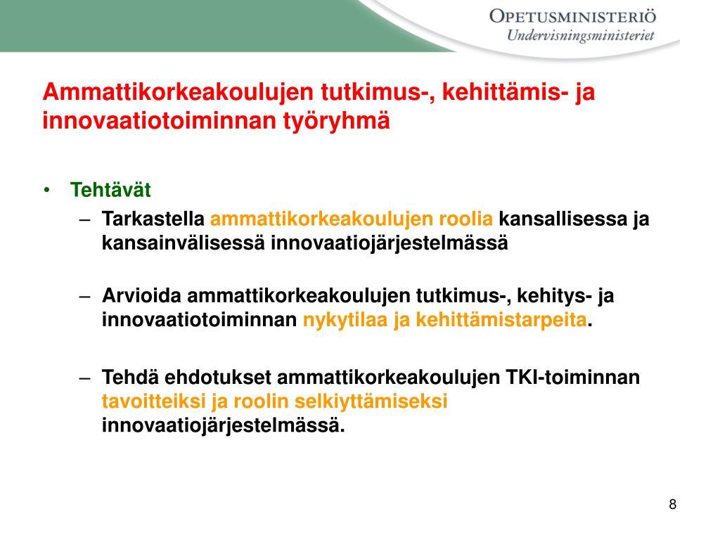 Ammattikorkeakoulujen tutkimus-, kehittämis- ja innovaatiotoiminnan työryhmä