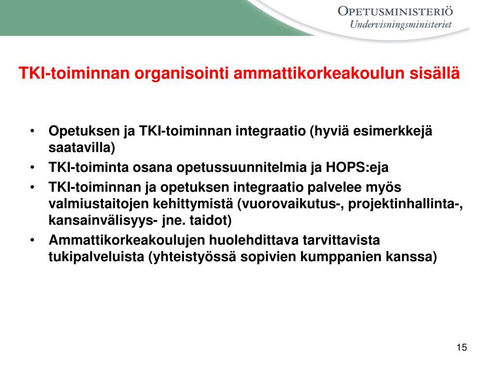 TKI-toiminnan organisointi ammattikorkeakoulun sisällä