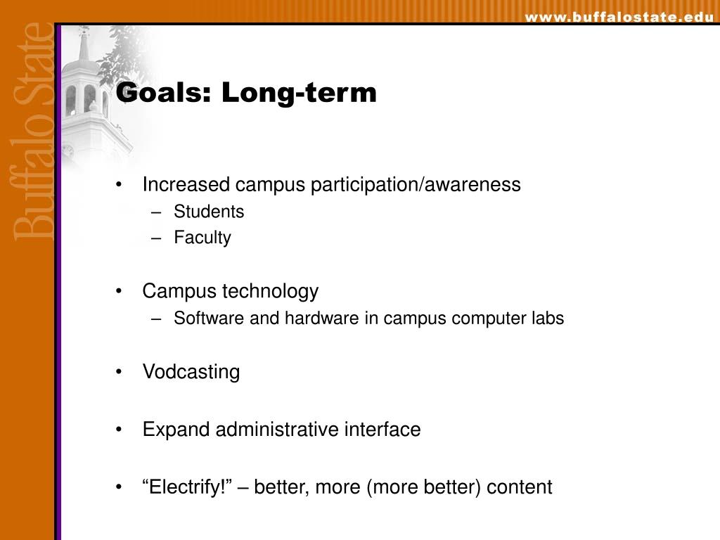 Goals: Long-term