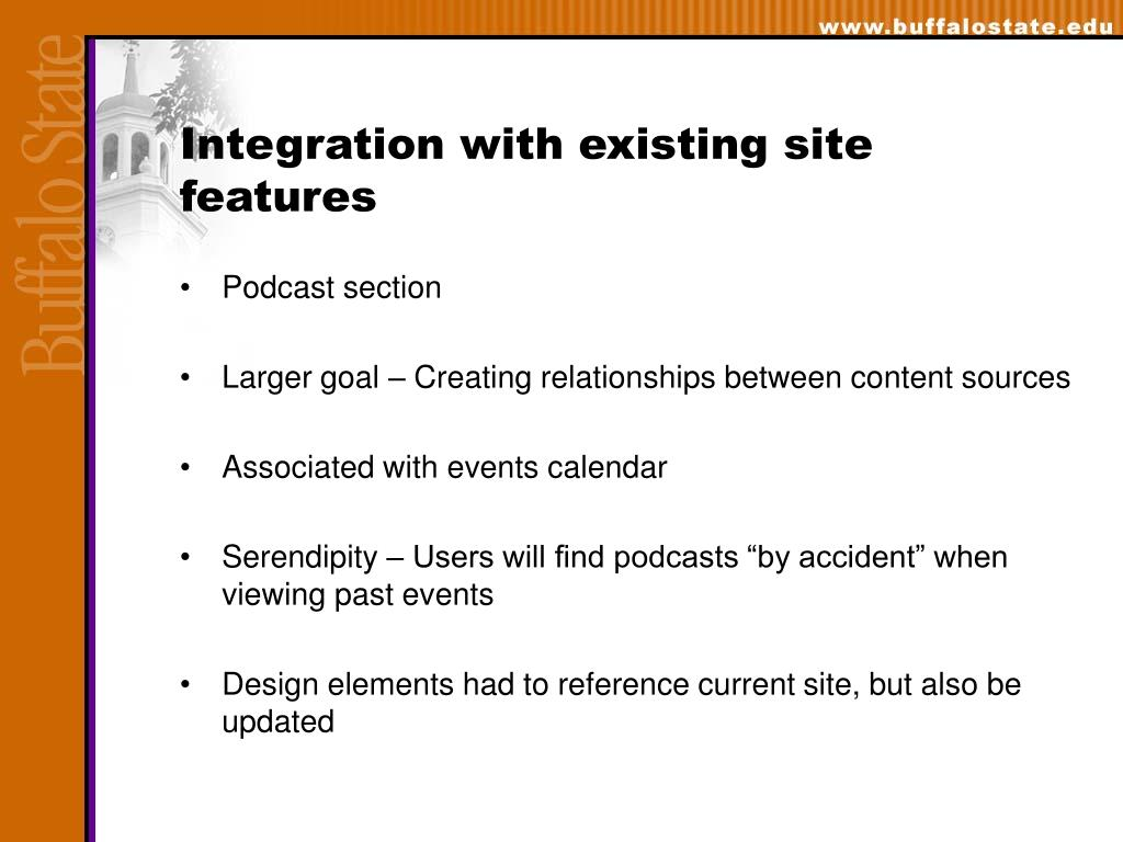 Integration with existing site features