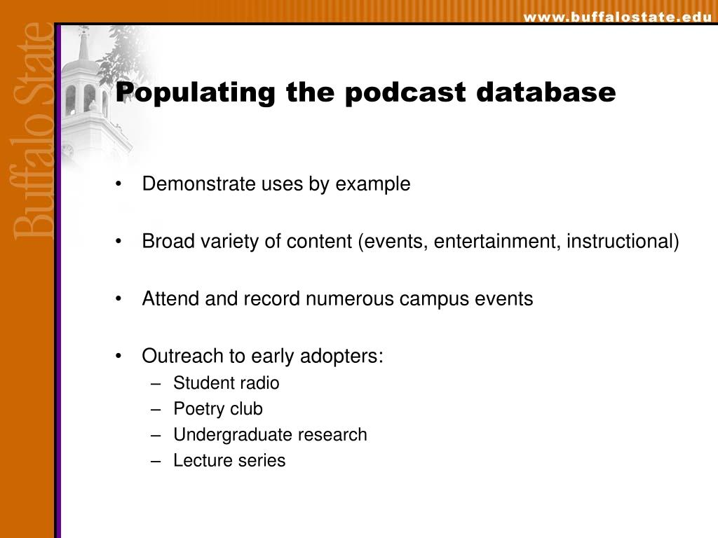 Populating the podcast database