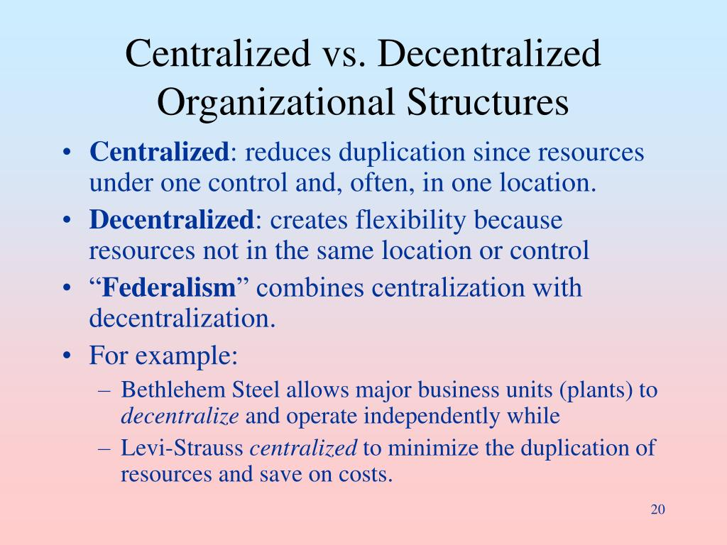 Centralized vs. Decentralized Organizational Structures
