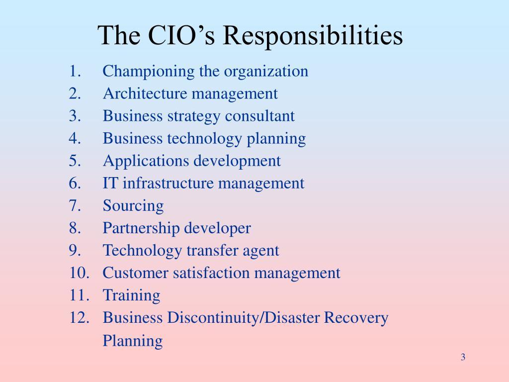 The CIO's Responsibilities