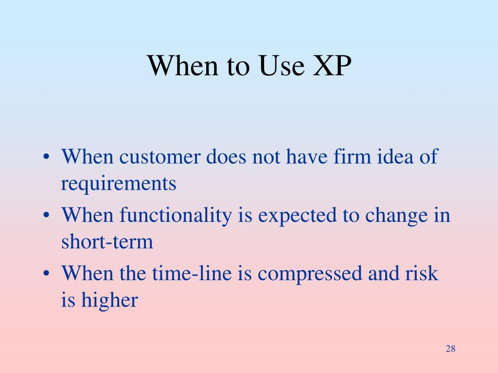 When to Use XP