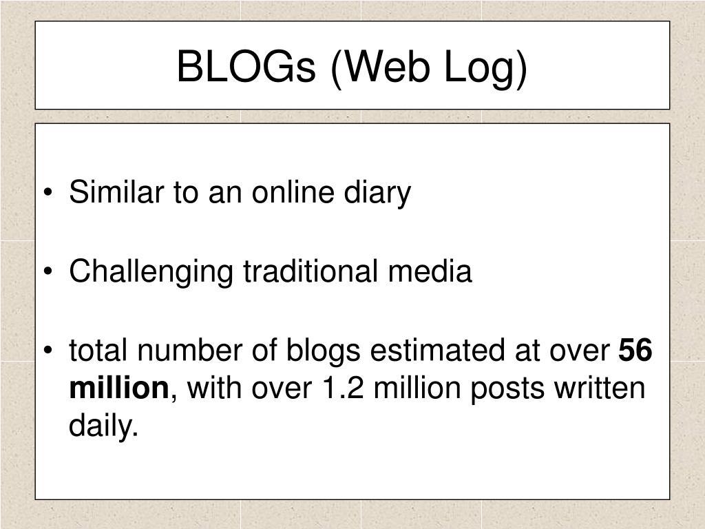BLOGs (Web Log)