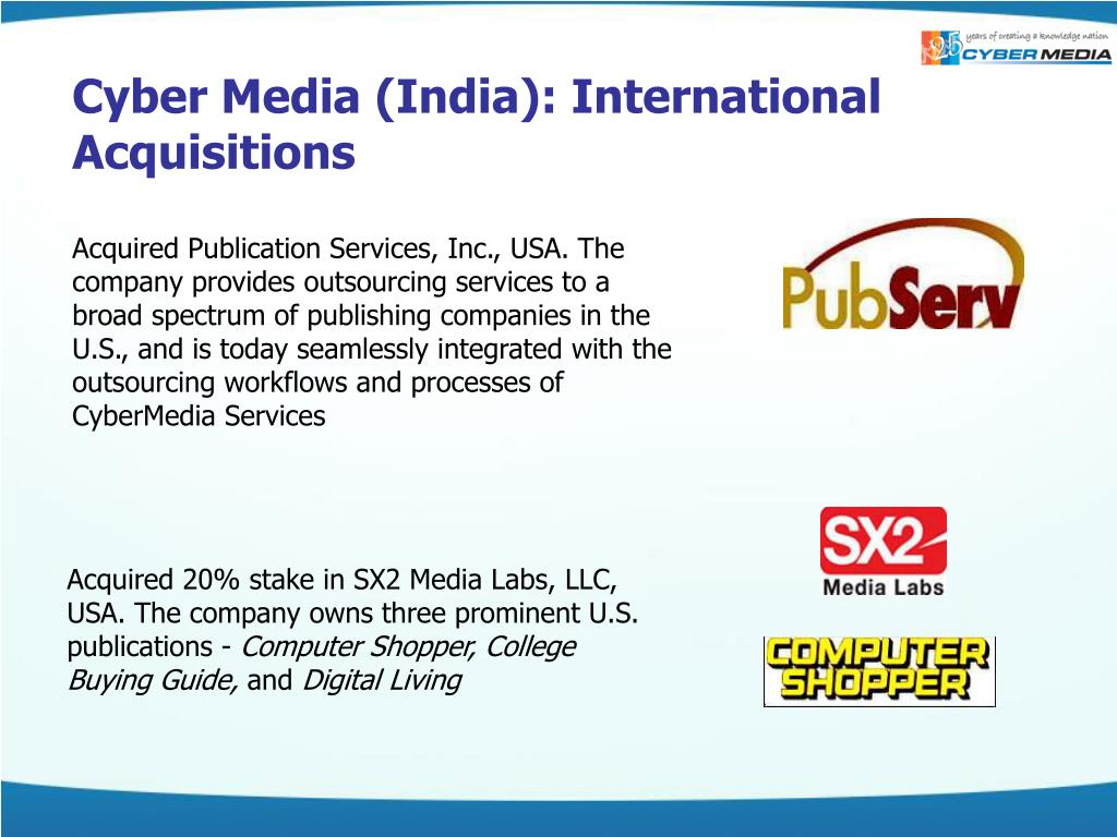 Cyber Media (India): International Acquisitions
