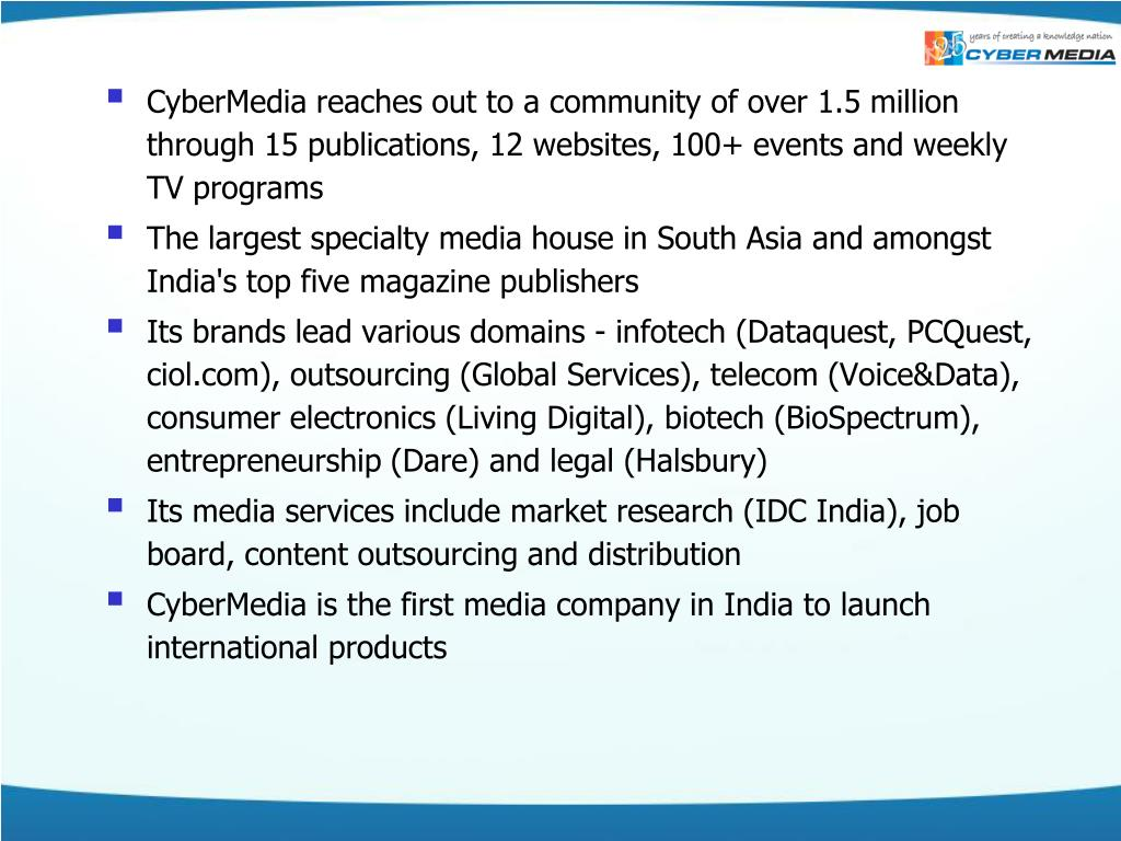 CyberMedia reaches out to a community of over 1.5 million through 15 publications, 12 websites, 100+ events and weekly TV programs