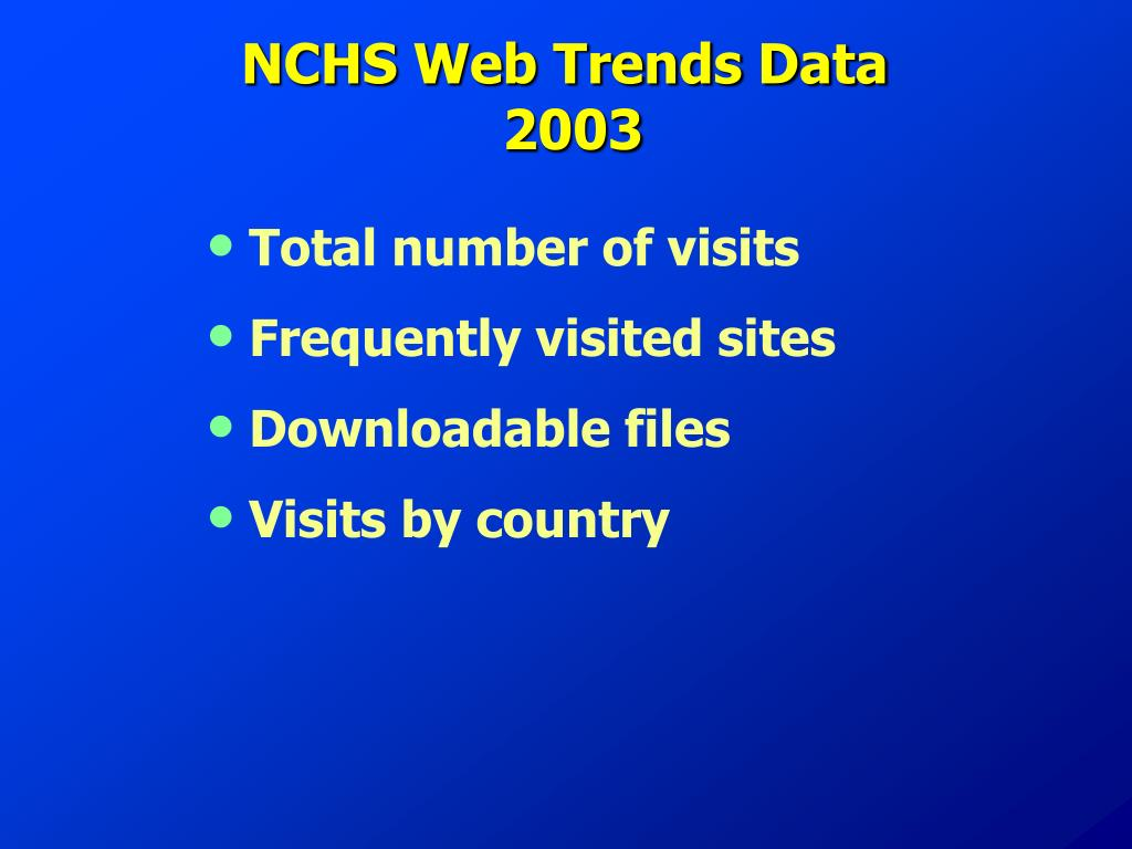 NCHS Web Trends Data