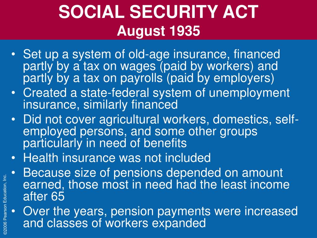 the social security act of 1935 and Social security act of 1935 the social security act (act of august 14, 1935) [h r 7260] an act to provide for the general welfare by establishing a system of federal old-age benefits, and by enabling the several states to make more adequate provision for aged persons, blind persons, dependent and crippled children, maternal and child welfare,.