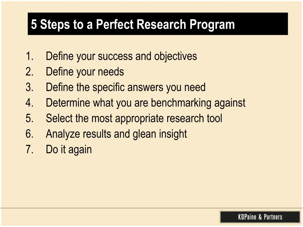 5 Steps to a Perfect Research Program