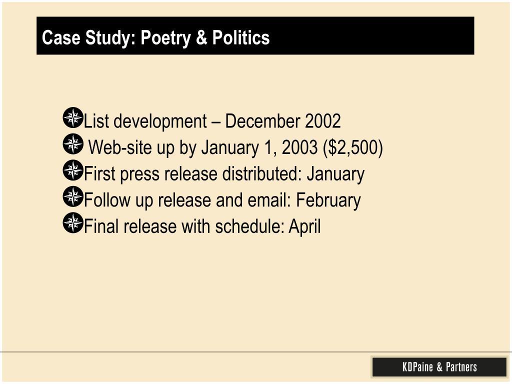 Case Study: Poetry & Politics