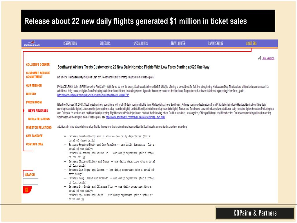 Release about 22 new daily flights generated $1 million in ticket sales