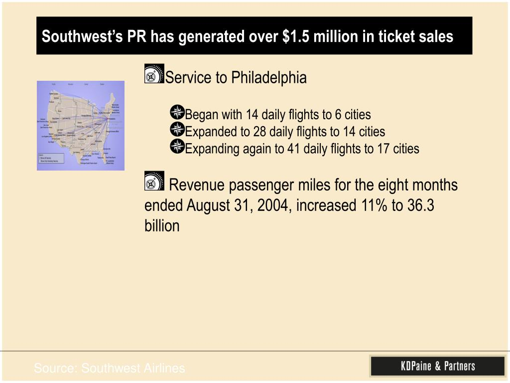 Southwest's PR has generated over $1.5 million in ticket sales