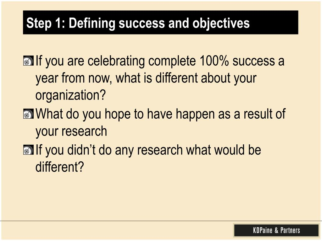 Step 1: Defining success and objectives