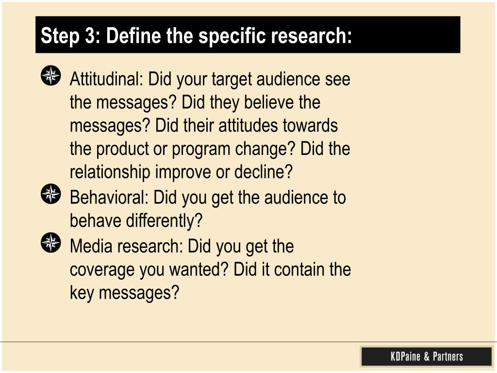 Step 3: Define the specific research:
