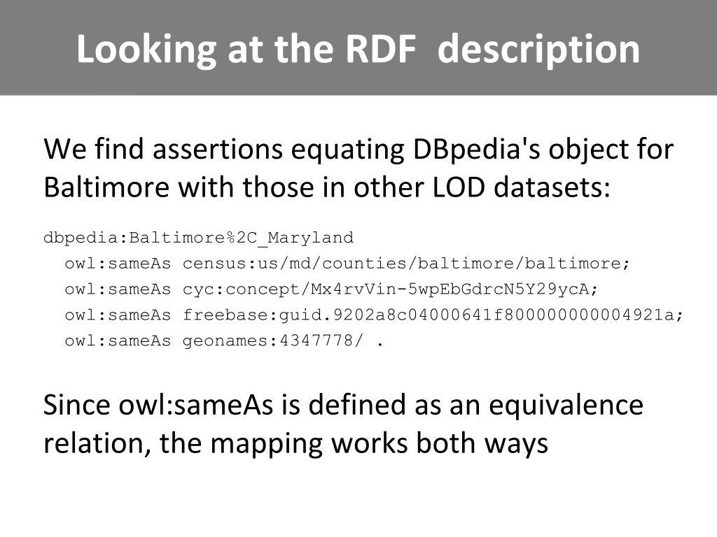 Looking at the RDF  description