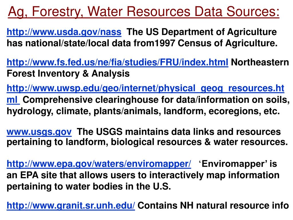 Ag, Forestry, Water Resources Data Sources:
