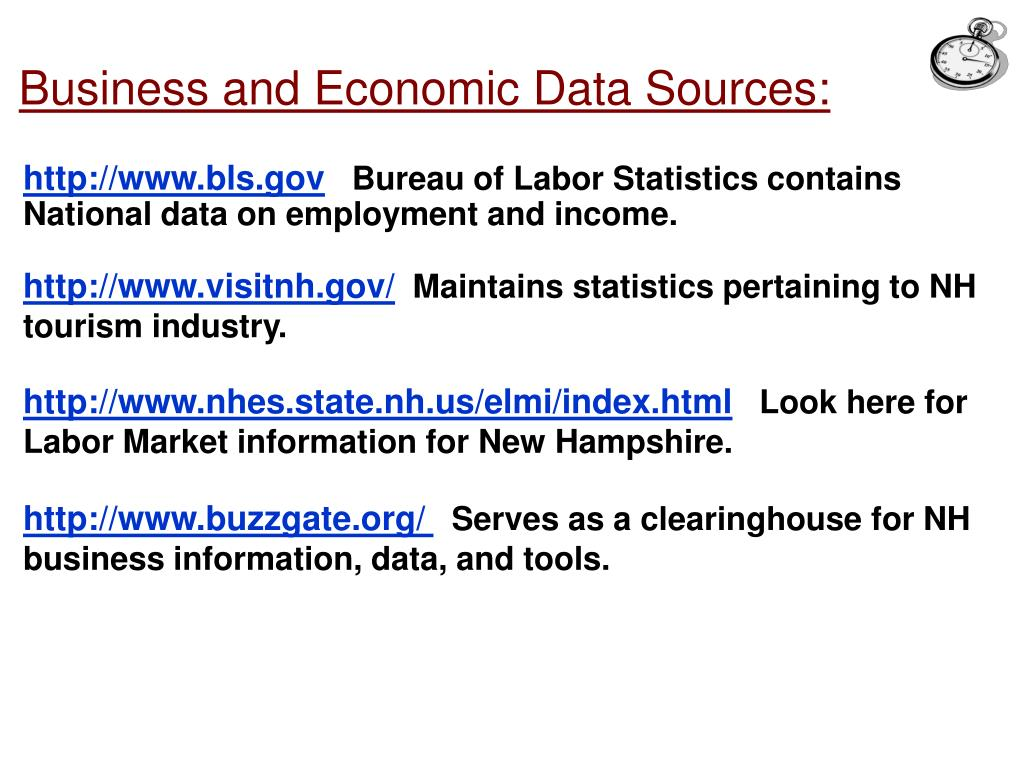 Business and Economic Data Sources: